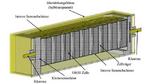 Simuliertes Batteriemodul mit Zellen vom Typ 18650 und leitendem Gehäuse.