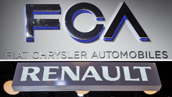 Firmenschriftzüge von Fiat Chrysler und Renault