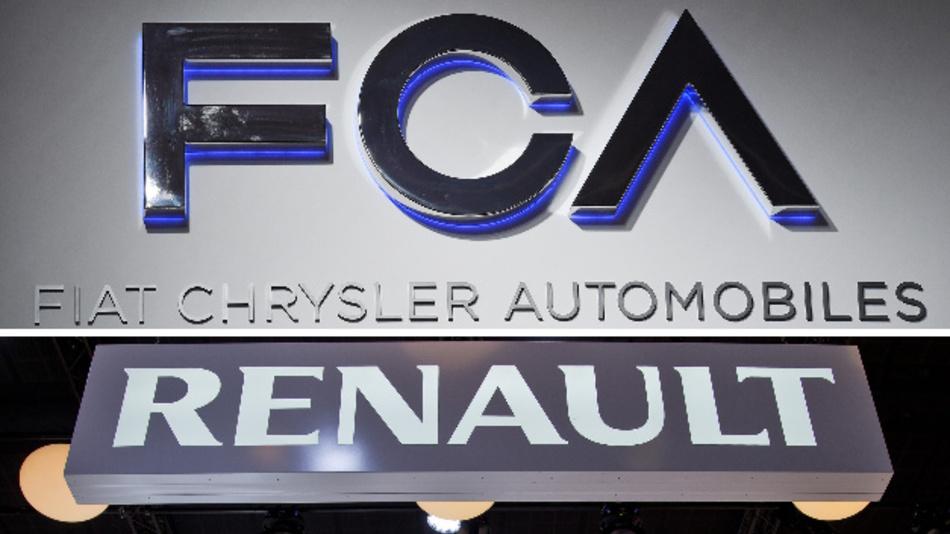 Die Firmenschriftzüge der Autokonzerne Fiat Chrysler und Renault.