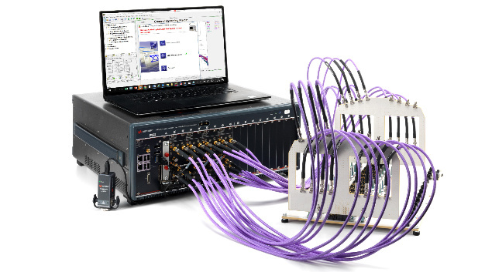 Netzwerkanalysator: Testaufbau mit der Benchtop-Variante M9804A von Keysight.