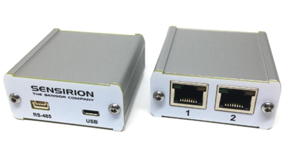 Eine Bridge verbindet verschiedene Umweltsensor-Typen mit standardisiertem RJ-45-Anschluss mit dem PC zur Bewertung.