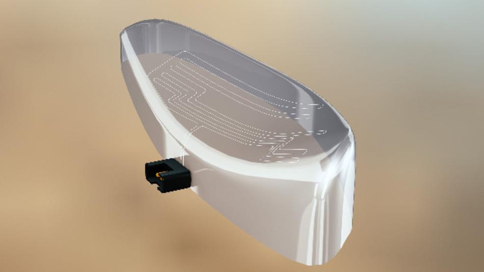 Dünne Heizdrähte werden in eine Folie eingebettet und können dadurch individuell gestaltete Flächen beheizen.