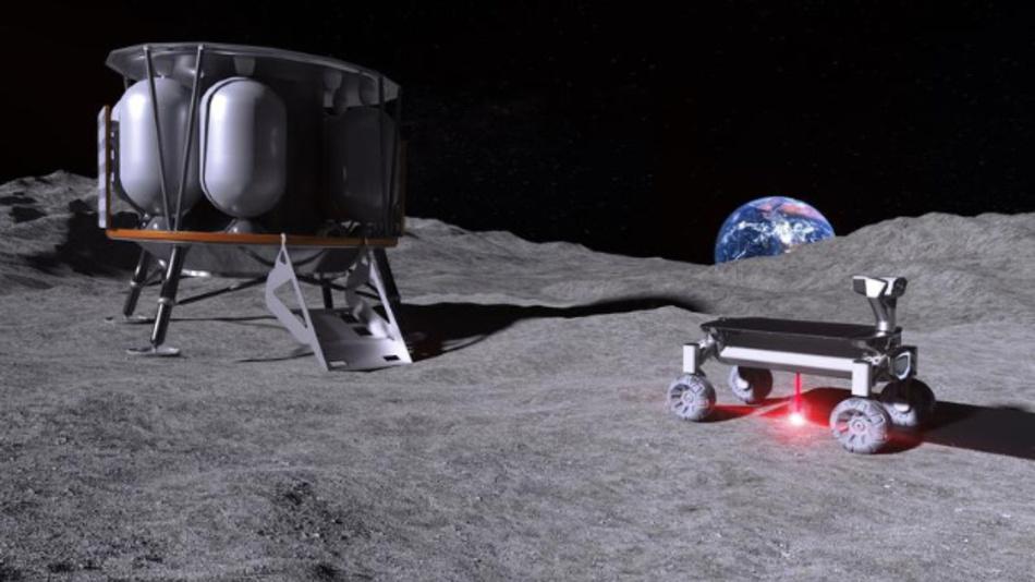Die Moonrise-Technik im Einsatz auf dem Mond: Links die Mondlandefähre Alina, rechts der Rover mit der Moonrise-Technik – mit angeschaltetem Laser beim Aufschmelzen von Mondstaub.