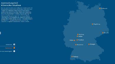 Karte zum Anwendungsfall Klinische Studien (Screenshot)