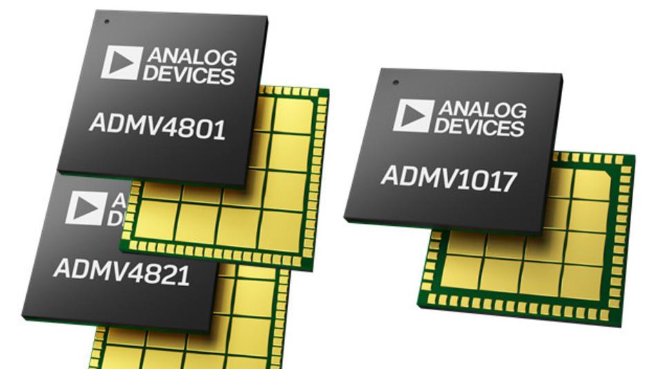 Zwei Beamformer-ICs (ADMV4801 und 4821) und einen Frequenzumsetzer (ADMV1017) hat Analog Devices entwickelt, um die Entwicklung und den Bau von Geräten für 5G-Infrastuktur im Bereich 24 GHz bis 29,5 GHz zu erleichtern.