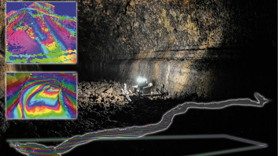 Kartenerstellung einer Höhle durch lernende Systeme. Diese Aufnahmen entstanden während eines Feldtests auf der spanischen Insel Teneriffa.