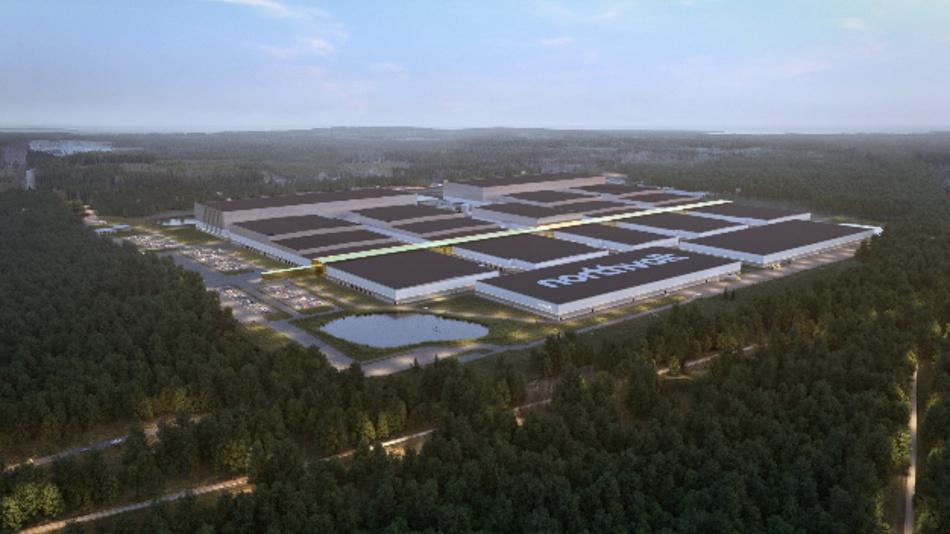 Visualisierung der »Northvolt Ett«-Gigafactory in Schweden.