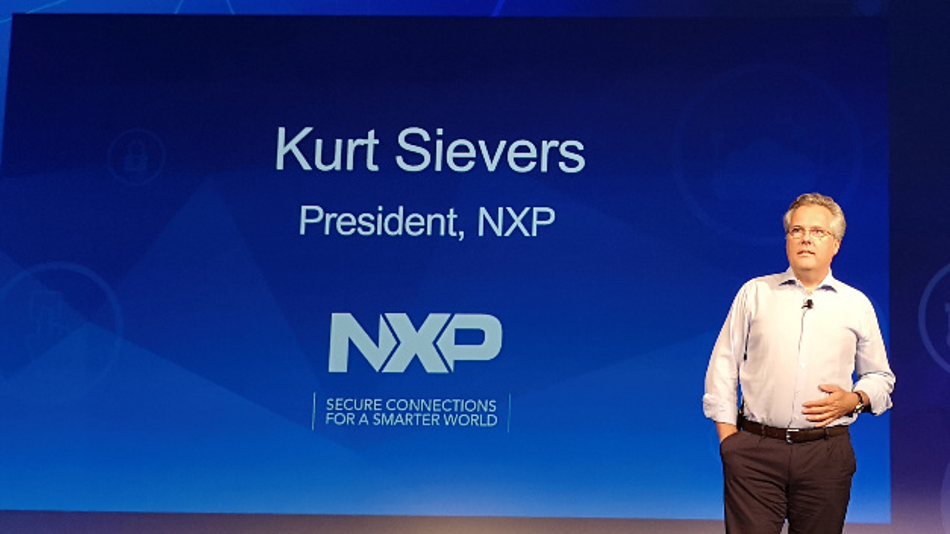 NXP-President Kurt Sievers eröffnet die NXP connects 2019 in Santa Clara.
