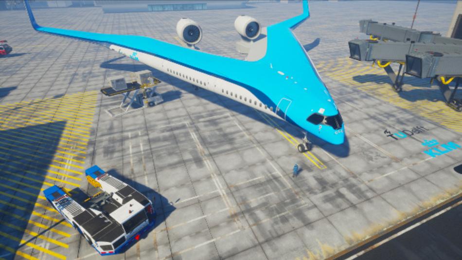 So könnte sich der Flying V in Parkposition am Amsterdamer Flughafen in Zukunft präsentieren.