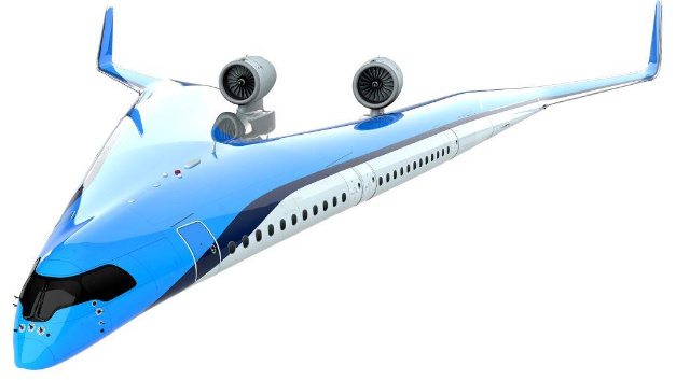 Das Bild zeigt den Prototypen des Flying V.