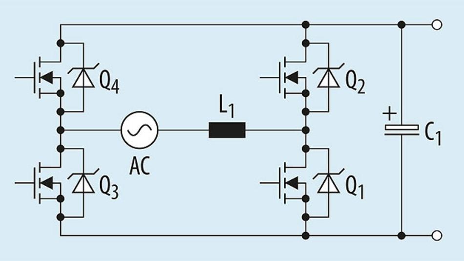Bild 3. Eine Totem-Pole-PFC-Stufe lässt sich als Wechselrichter konfigurieren.
