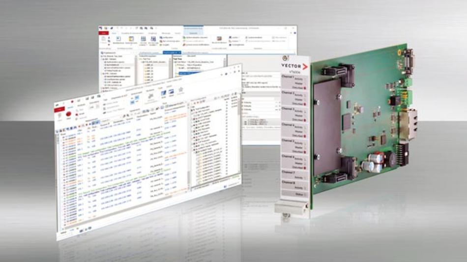 Das Sicherstellen der Ethernet-Konformität von Fahrzeugsteuergeräten wird für Entwickler und Systemintegratoren künftig einfacher, denn das Testwerkzeug CANoe von Vector unterstützt mit der Version 12.0 die von der OPEN Alliance im TC8 definierten Konformitätstests.