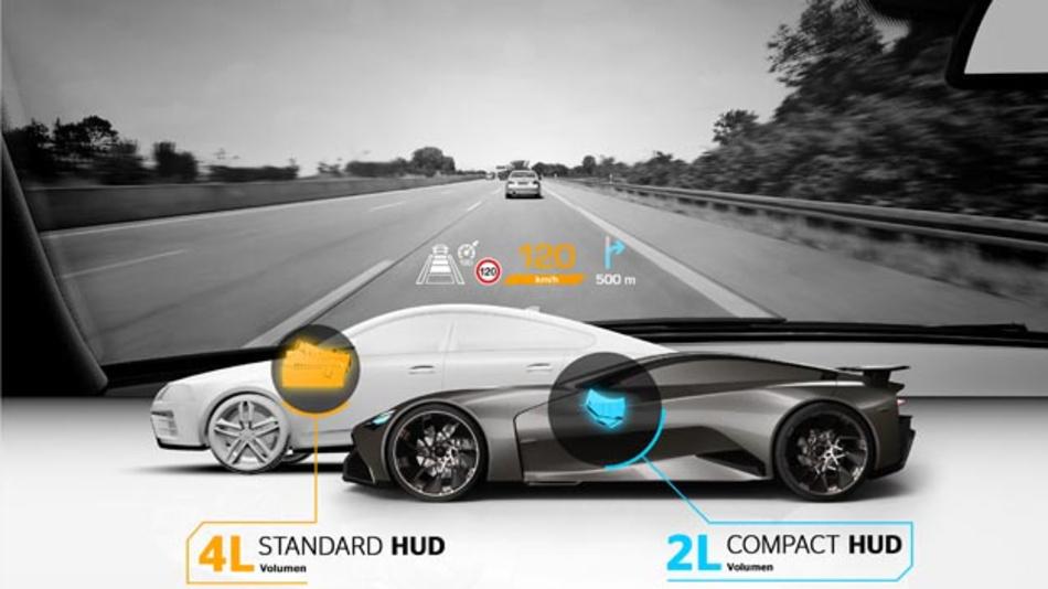 Das kompakte Head-up-Display eignet sich besonders für Fahrzeuge mit kleinerem Cockpit wie Sportwagen.