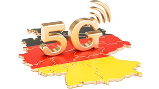 Goldenes 5G über Deutschlandkarte