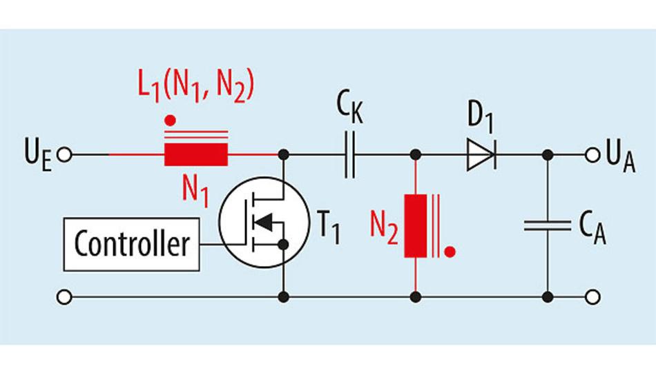Bild 3. Vereinfachte Schaltung eines SEPIC- DC/DC-Wandlers.