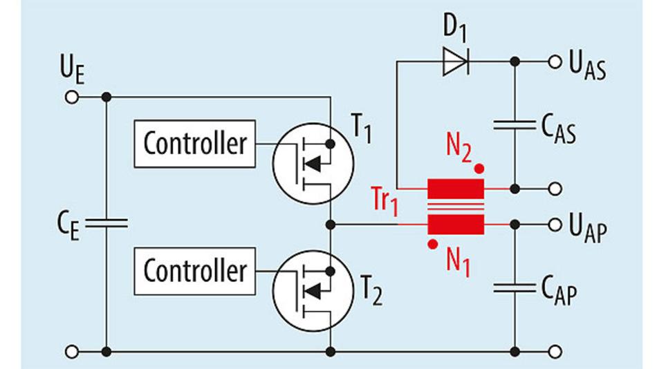 Bild 4. Vereinfachte Schaltung eines isolierenden Abwärtswandlers mit gekoppelter Induktivität.