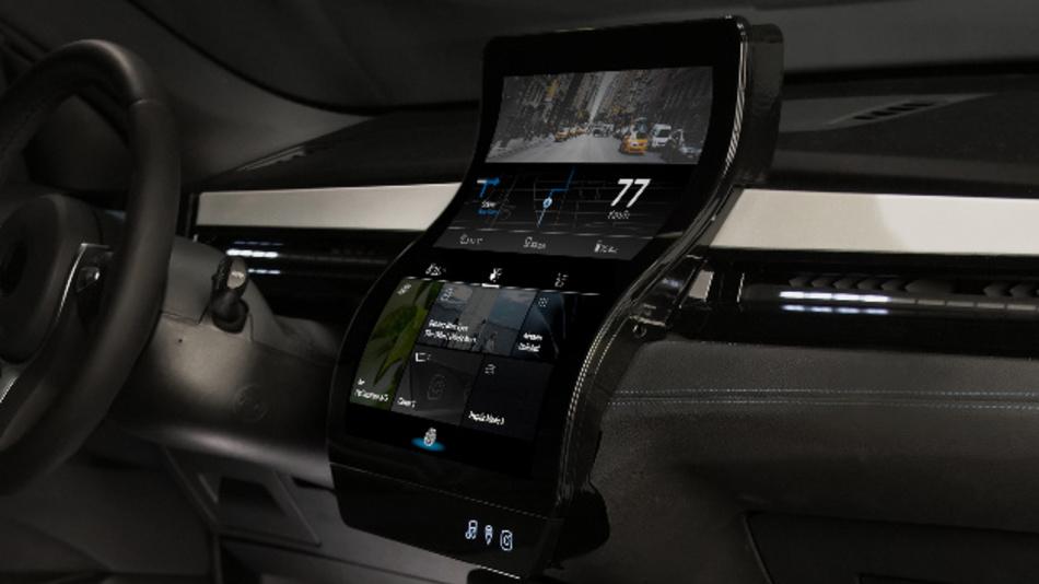Das Display von FlexEnable als zentrale Anzeigeneinheit im Demo-Fahrzeug Nova Car #2.