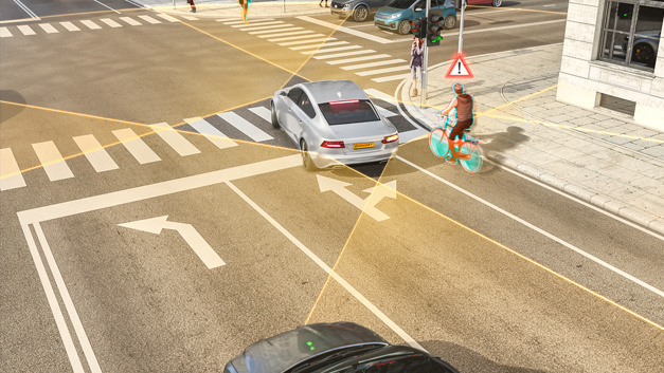 Der Nahbereichsradar auf 77 GHz-Basis erfasst die Umgebung in einer deutlich höheren Auflösung und Trennschärfe als bislang. Er kann beispielsweise im Rechtsabbiegeassistent zum Einsatz kommen, der den Autofahrer in der oft unübersichtlichen Situation des Rechtsabbiegens unterstützt.