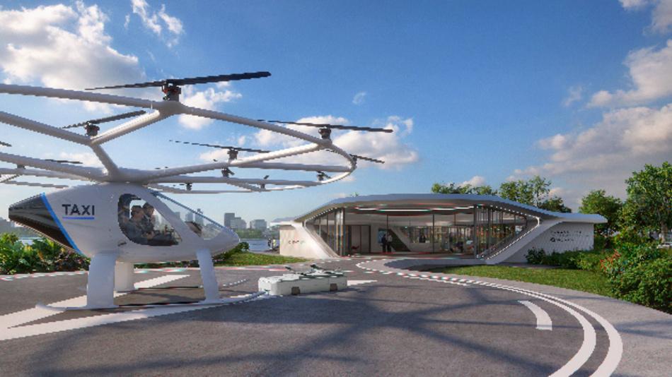 So könnte der Landeplatz für die Flugtaxis von Volocopter einmal aussehen.