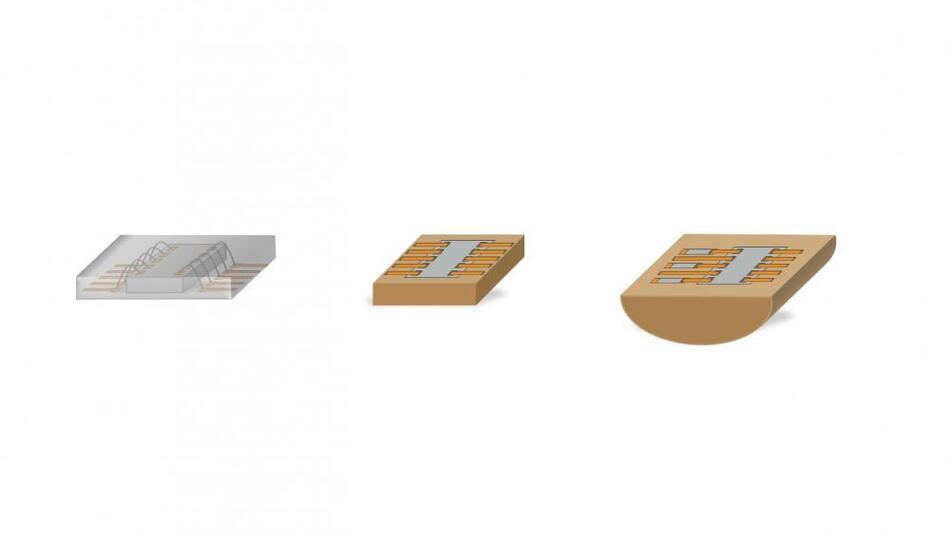 Vergleich der klassischen Spritzgusstechnik zu Konekt (v.l.n.r.): Spritzgusstechnik mit Wirebonds, Konekt: gleiches Bauelement mit weniger Bauraum, Konekt: Baugruppe mit zusätzlichen Bauelementen