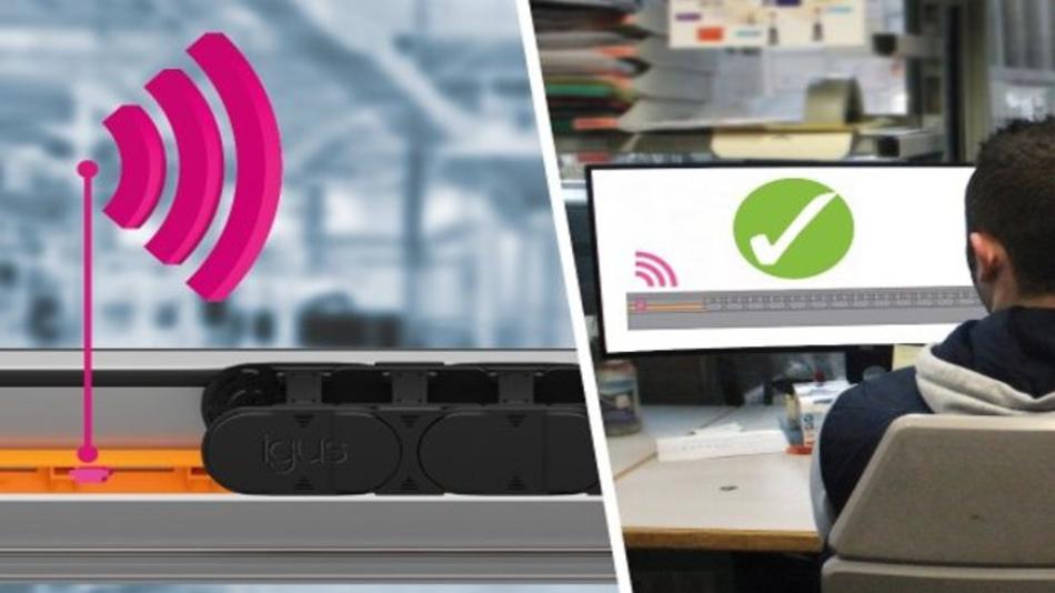 Zur Überwachung der neuen Gleitschiene aus einem abriebfesten Hochleistungspolymer nutzt igus den smart plastics Sensor EC.T. Dieser sendet regelmäßig Informationen über den technischen Zustand der langlebigen Schiene.