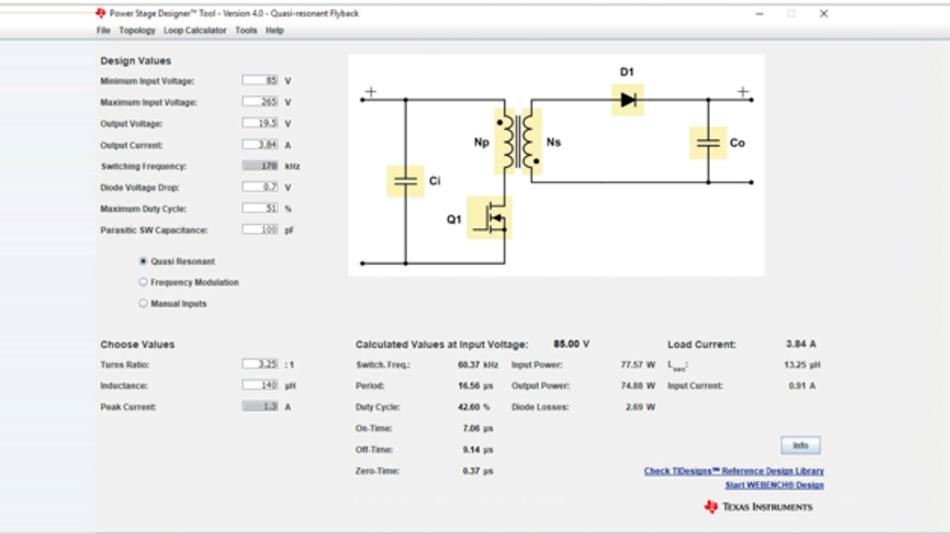 Bild 1: Mit dem PSD-Tool können Entwickler die Topologie wählen, die sie benutzen wollen, um dann die wichtigsten Parameter einzugeben.