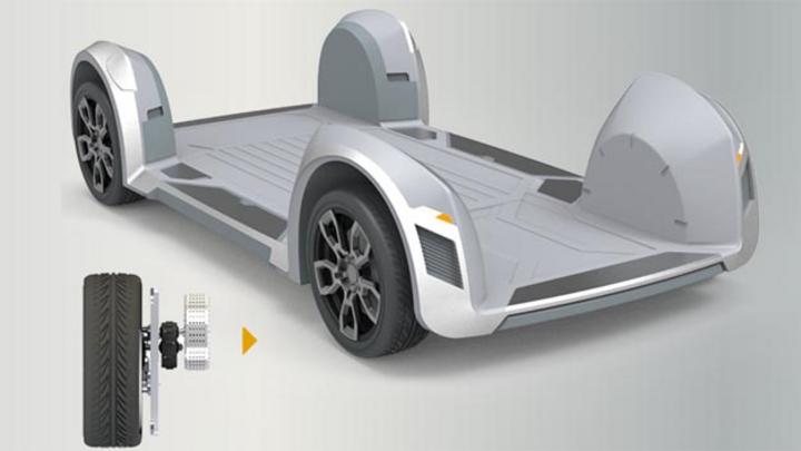 Alle Komponenten kommen in den Reifen des Elektroautos – so sieht das Antriebskonzept des Start-Ups Ree aus.