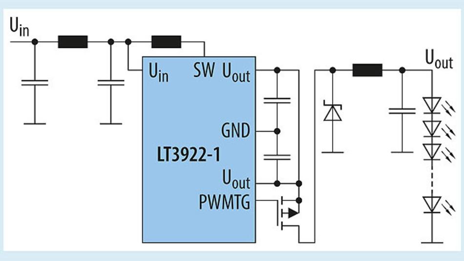 Bild 3. Beispielschaltung eines Silent Switcher LED-Treibers, optimiert für geringste Störungen und bestes EMV-Verhalten.
