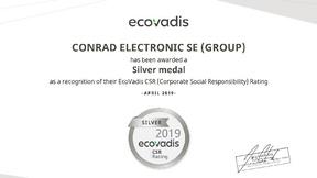 Zertifikat über Silber-Status von Condrad Electronic SE