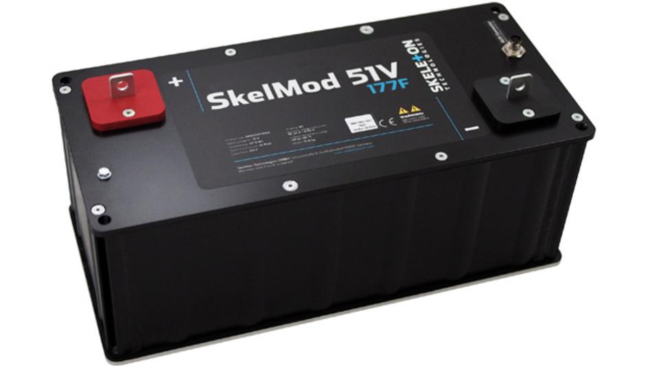 Die SkelMod-Ultrakondensatorenmodule sind zur Zeit als 170-V-Versionen erhältlich. Sie sind für den Nutzen  im Schwerlastbereich gedacht, wie beispielsweise elektrische Schwerlasttransporte, Schienenanwendungen, Antriebsstränge, getaktete Stromversorgung.