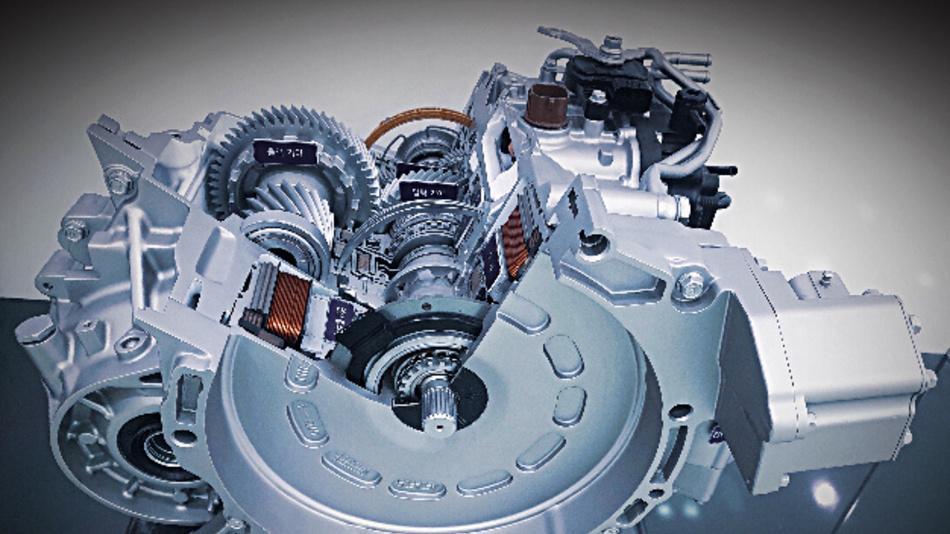 Aufbau eines Getriebes mit aktiver Getriebesteuerung für Hybridfahrzeuge.