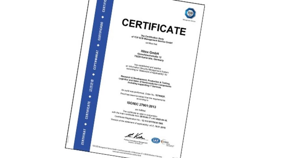 Hitex ist vom TÜV Süd nach ISO 27001 zertifiziert.