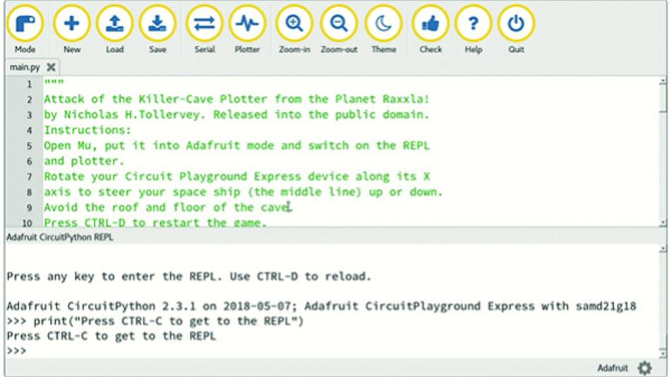 Bild 6. Der Mu-Bildschirm ist in ein Code-Fenster für die Bearbeitung und das REPL-Fenster für Steuerung und Überwachung aufgeteilt, in dem der Programmierer den CircuitPython-Interpreter der Entwicklungskarte steuert.
