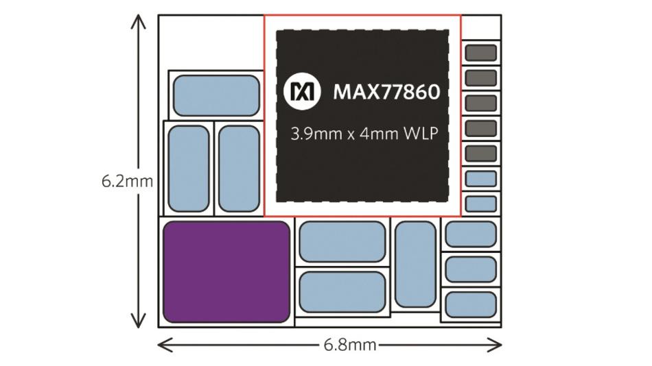Bild 6: Eine hochintegrierte Lösung mit dem MAX77860 benötigt 42 mm² auf der Platine – etwa 30 % weniger als die Lösung in Bild 2.