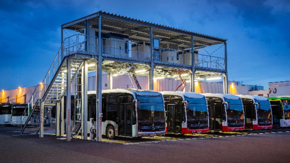 Die neue Stromtankstelle im Omnibuswerk Mannheim für den Mercedes-Benz eCitaro mit elektrischem Antrieb.