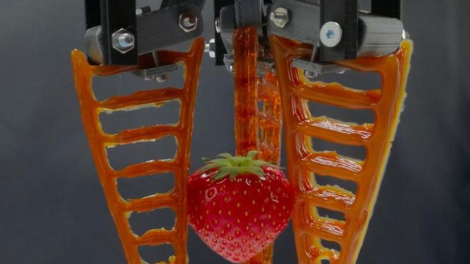 Ein 3D-gedruckter Greifer aus selbst heilendem Material hält eine Erdbeere.
