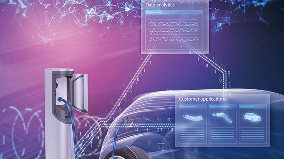 Bild 2. Kommunikation zwischen Fahrzeug und Ladestation: Beim Ladevorgang fließen Strom und Daten.
