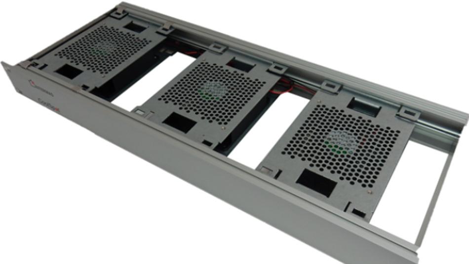 CoolSpot ist ein stufenlos einstellbarer  19''-1HE-Lüftereinschub zur  punktgenauen Belüftung von Hotspots  in der Elektronik.