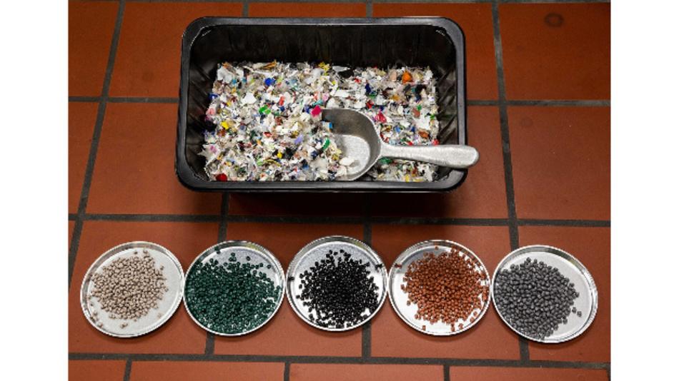 Die Regranulate stammen aus Kunststoffabfällen aus der haushaltsnahen Sammlung in Deutschland.
