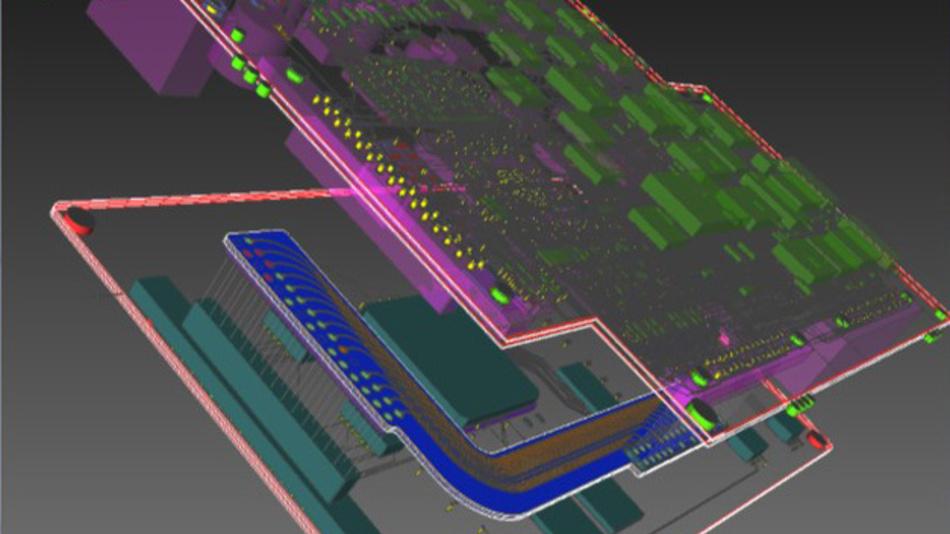 Bild 3a. Die Entwicklungsumgebung CR-8000 von Zuken ermöglicht eine 3D-Ansicht mit IC, Gehäuse und Leiterplatte für ein 3D-Co-Design.