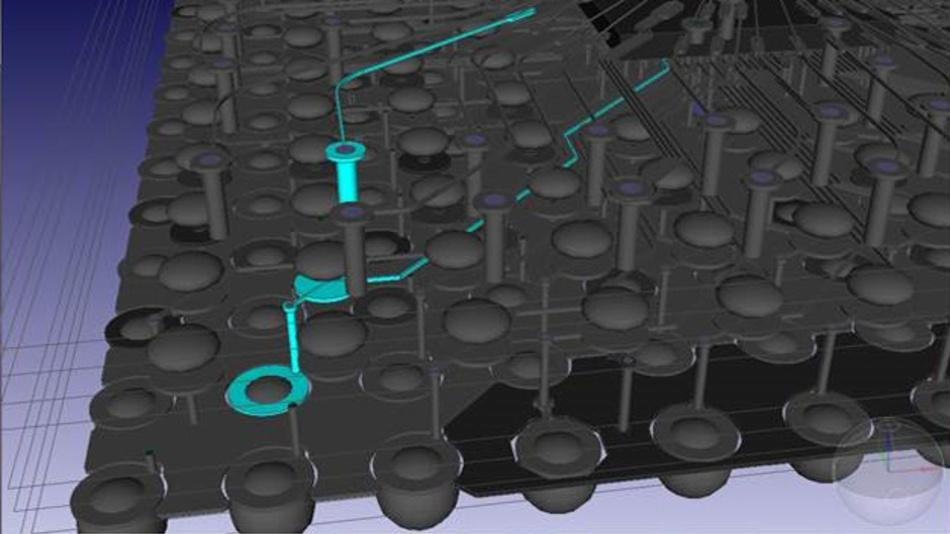 Bild 5. Mit dem 3D-Co-Design-Werkzeug lassen sich Package on Package und System in Package dreidimensional am Bildschirm entwickeln und analysieren.