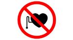 Verbotszeichen für Patienten mit Herzschrittmachern und implantierten Defibrillatoren.