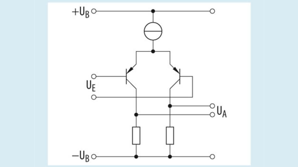 Bild 1. Typische Eingangsstufe mit PNP-Transistoren wie sie in Operationsverstärkern eingesetzt werden, die mit einer unipolaren Versorgungsspannung betrieben werden können.