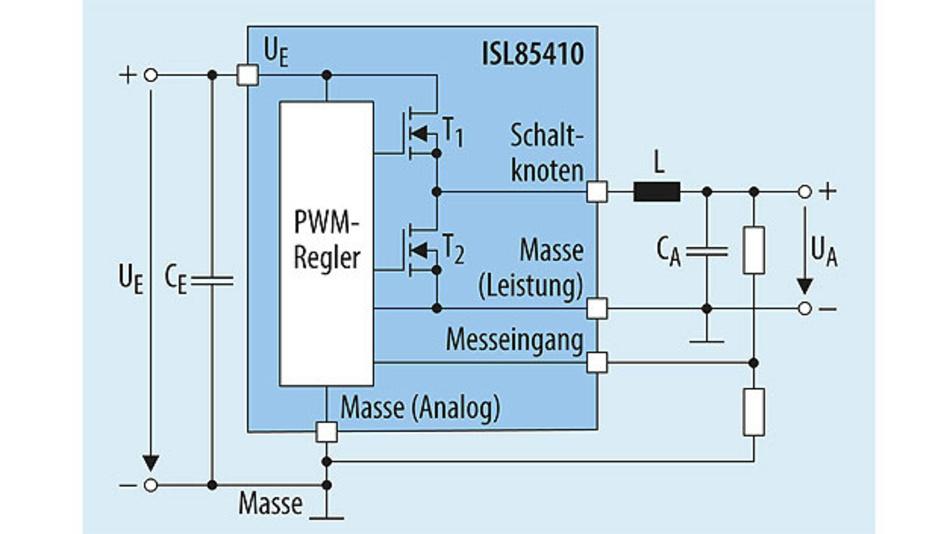 Bild 1. Vereinfachter Schaltplan eines Abwärtswandlers, realisiert mit dem ISL85410. Er benötigt im Prinzip nur wenige externe Bauteile: Speicherdrossel, Eingangs- und Ausgangskondensator sowie den Spannungsteiler zum Festlegen der Ausgangsspannung.