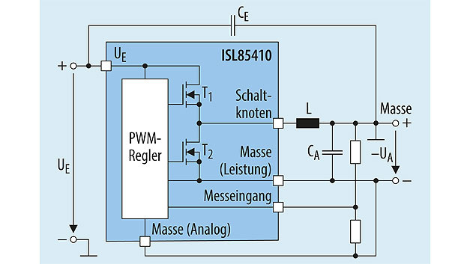 Bild 3. Schaltung (vereinfacht) mit dem ISL85410 für einen Aufwärts-/Abwärtswandler, der eine negative Ausgangsspannung aus einer positiven Eingangsspannung generiert.