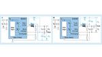 Vereinfachter Schaltplan einer bipolaren Stromversorgung nach dem Abwärtswandler-Prinzip (a) und nach dem Prinzip eines Aufwärts-/Abwärtswandlers mit dem eine negative Ausgangsspannung erzeugt wird (b