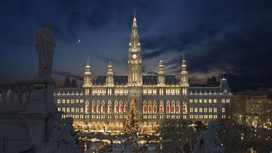 Entwurf des Wiener Rathauses mit neuem Lichtsystem