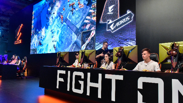 The booth of Aorus in hall 7 at the Gamescom in Cologne.
