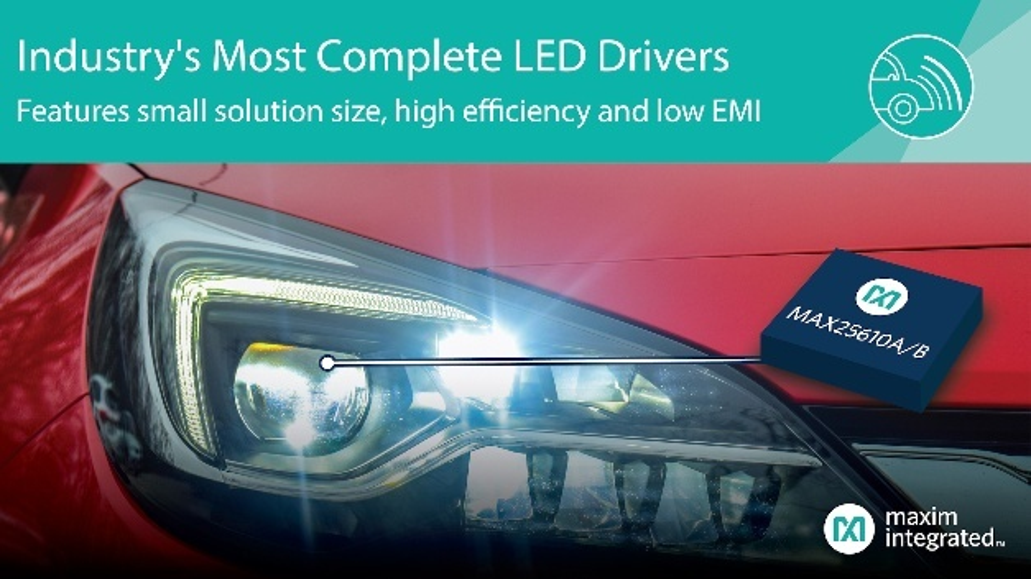 Als einfache und effiziente Methode zum Ansteuern von High-Brightness-LEDs (HBLEDs) in Automobil-Beleuchtungen hat Maxim die LED-Treiber MAX25610A und MAX25610B entwickelt. Die synchronen Buck- und Buck-Boost-LED-Treiber/DC-DC-Wandler im 5 mm x 5 mm großen TQFN-Gehäuse stellen eine Komplettlösung mit sehr guter EMI-Performance dar, ohne dass dabei Kompromisse hinsichtlich Effizienz und Größe eingegangen werden müssen. Die ICs treiben bis zu acht HBLEDs direkt aus der Autobatterie an und bieten einen weiten Eingangsspannungsbereich von 5 V bis 36 V in Buck-Boost-LED-Treiberanwendungen mit bis zu 90 % Effizienz im Buck-Boost-Modus. Die LED-Treiber verfügen über eine interne Stromabtastoption und integrierte High- und Low-Side-Switching-MOSFETs, um Schaltungsgröße und -kosten zu verringern. Sie bieten ein programmierbares On-Chip-PWM-Dimmen, das eine feine Dimmregelung ohne Einsatz eines separaten Mikrocontrollers ermöglicht. Darüber hinaus verfügt der MAX25610B über eine 2,2-MHz-Schaltfrequenzoption für eine noch kompaktere Schaltungsgröße.