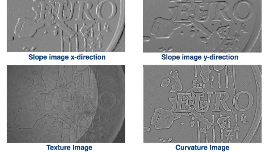 Verschiedene Bilder einer Euromünze, aufgenommen mit »CVS Trevista Surface«: Neigungsbild in x-Richtung, Neigungsbild in y-Richtung, Texturbild, Krümmungsbild.